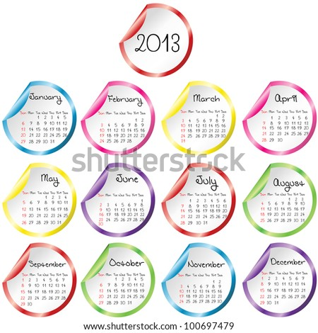 Calendar for 2013 with stickers - stock photo