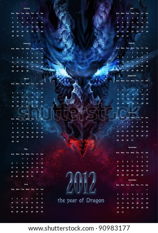 Calendar for 2012 with the image of scary black dragon - the symbol of the new year - stock photo