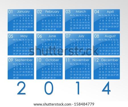calendar for year 2014 - stock photo