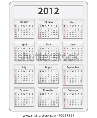 Calendar for 2012 year - stock photo