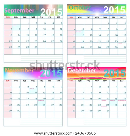 Calendar for year 2015  September-Decemver  (United States)-Holidays and Observances: