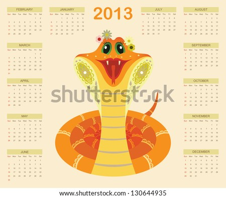 Calendar for 2013 year with smiled snake (week starts with sunday) - stock photo