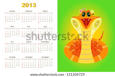 Calendar for 2013 year with yellow snake on green background - stock photo