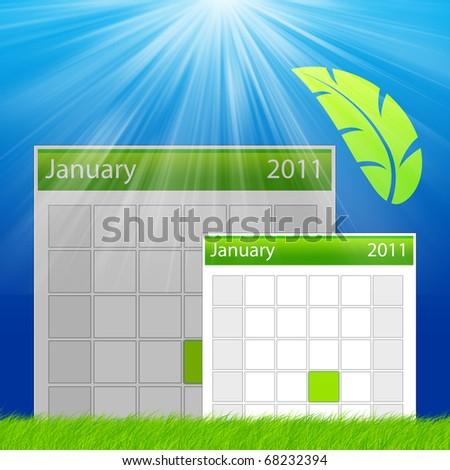 Calendar Fresh Green color - stock photo