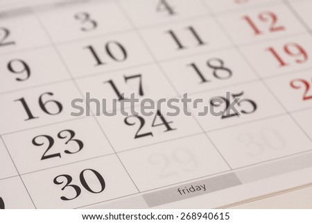 Calendar-Friday - stock photo