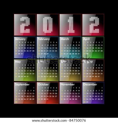 Calendar 2012 - glossy - stock photo