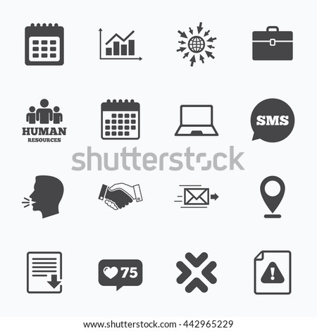 Calendar, go to web and like counter. Office, documents and business icons. Human resources, handshake and download signs. Chart, laptop and calendar symbols. Sms speech bubble, talk symbols. - stock photo