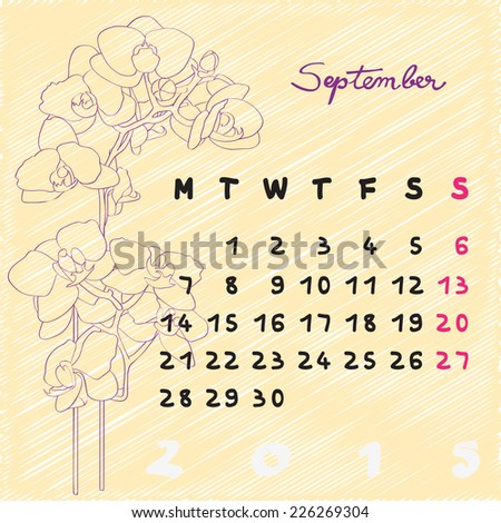 calendar 2015 graphic illustration september month stock