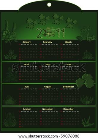 Calendar herb raster - stock photo