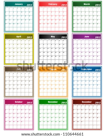 Calendar 2013 in assorted colors with large date boxes. Each month a different color. Vector version also available. - stock photo