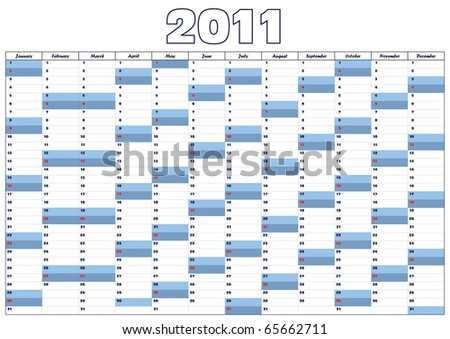 Calendar 2011 in English (vector also available) - stock photo