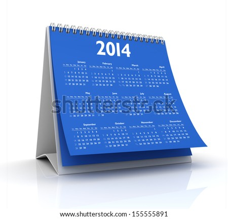 calendar 2014 in white background - stock photo