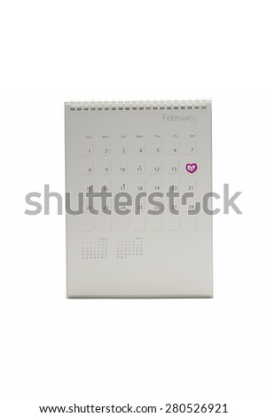 calendar isolated on white background mark heart on 14 - stock photo