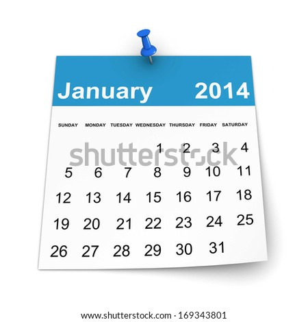 Calendar 2014 - January - stock photo
