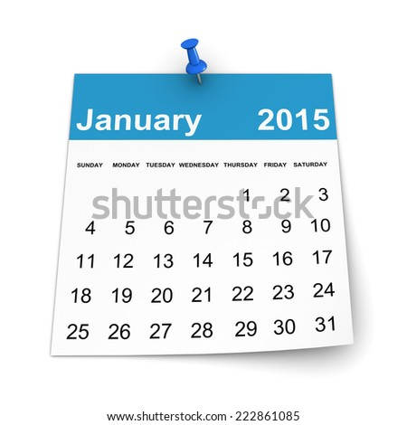 Calendar 2015 - January - stock photo