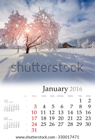 Calendar 2016. January. Colorful winter landscape in the mountain village - stock photo