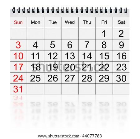 calendar january 2010 isolated on white - stock photo