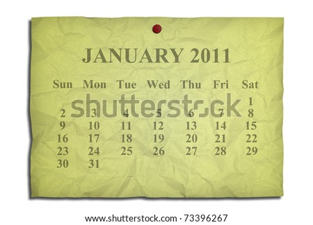 Calendar january 2011 on old Crumpled paper - stock photo