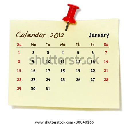 calendar january 2012  on paper pad - stock photo