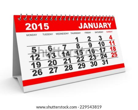 Calendar January 2015 on white background. 3D illustration. - stock photo