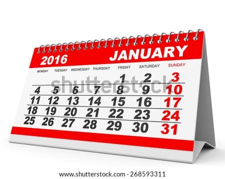 Calendar January 2016 on white background. 3D illustration. - stock photo