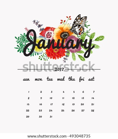 Calendar January 2017 with bouquet of flowers, butterfly and leaves, floral watercolor painting backgrounds.