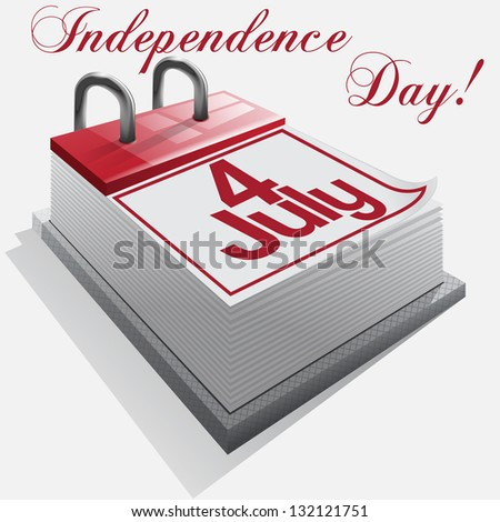 calendar 4 July, Independence Day . - stock photo