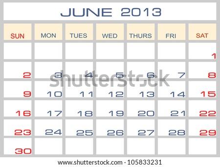 calendar June 2013 - stock photo
