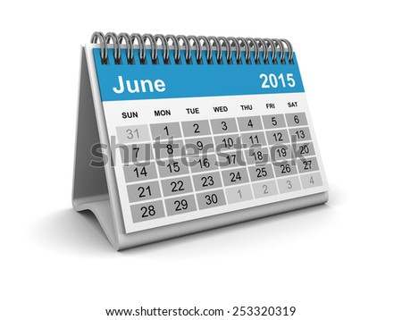 Calendar 2015 - June - stock photo