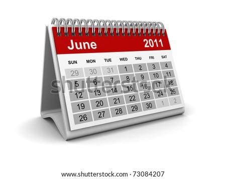 Calendar 2011 - June - stock photo