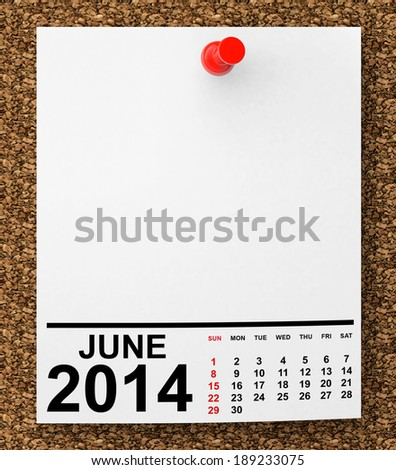 Calendar June 2014 on blank note paper with free space for your text - stock photo
