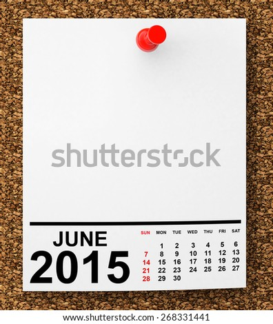 Calendar June 2015 on blank note paper with free space for your text - stock photo