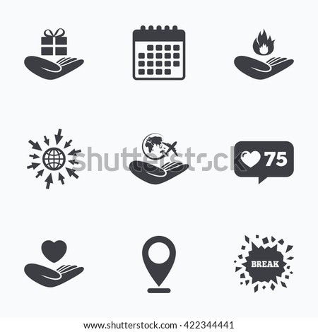 Calendar, like counter and go to web icons. Helping hands icons. Health and travel trip insurance symbols. Gift present box sign. Fire protection. Location pointer. - stock photo