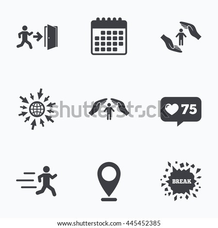 Calendar, like counter and go to web icons. Life insurance hands protection icon. Human running symbol. Emergency exit with arrow sign. Location pointer. - stock photo