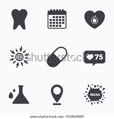 Calendar, like counter and go to web icons. Maternity icons. Pill, tooth, chemistry and heart signs. Blood donation symbol. Lab bulb with drops. Dental care. Location pointer. - stock photo
