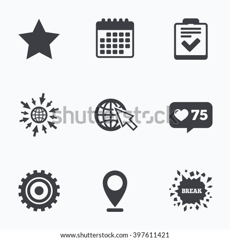 Calendar, like counter and go to web icons. Star favorite and globe with mouse cursor icons. Checklist and cogwheel gear sign symbols. Location pointer. - stock photo