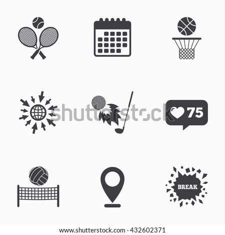 Calendar, like counter and go to web icons. Tennis rackets with ball. Basketball basket. Volleyball net with ball. Golf fireball sign. Sport icons. Location pointer. - stock photo