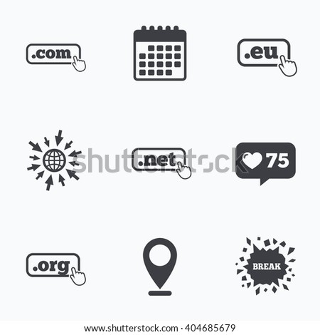 Calendar, like counter and go to web icons. Top-level internet domain icons. Com, Eu, Net and Org symbols with hand pointer. Unique DNS names. Location pointer. - stock photo