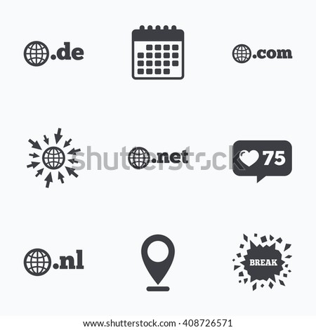 Calendar, like counter and go to web icons. Top-level internet domain icons. De, Com, Net and Nl symbols with globe. Unique national DNS names. Location pointer. - stock photo
