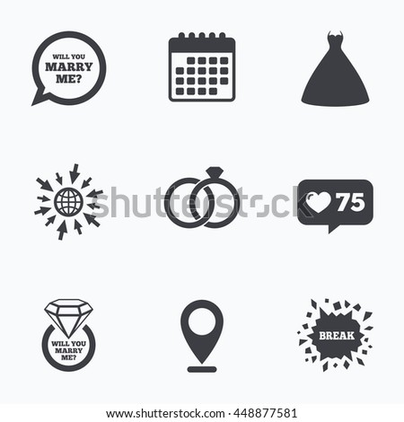 Calendar Like Counter And Go To Web Icons Wedding Dress Icon Bride