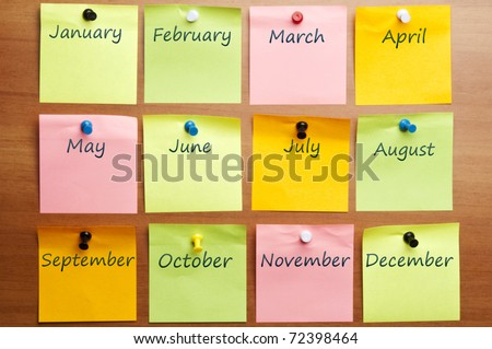 Calendar made by post it with copy space - stock photo