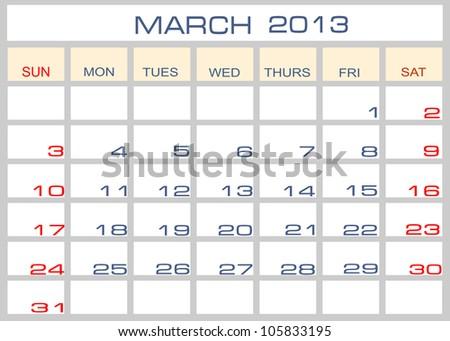 calendar March 2013 - stock photo