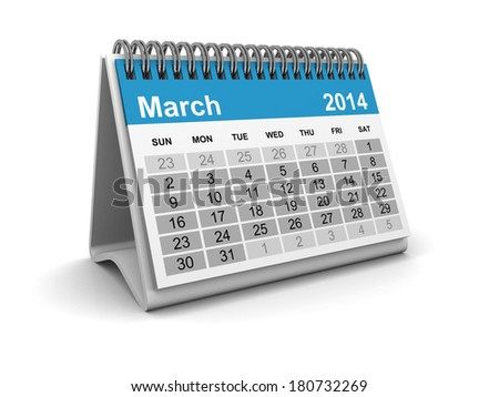 Calendar 2014 - March - stock photo