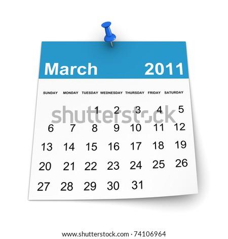 Calendar 2011 - March - stock photo