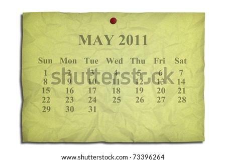 Calendar may 2011 on old Crumpled paper - stock photo