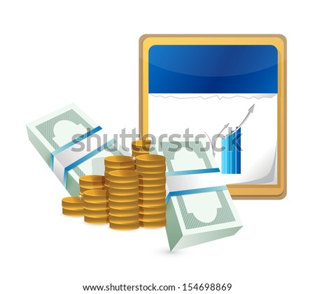 calendar money and a business chart. illustration design over white - stock photo