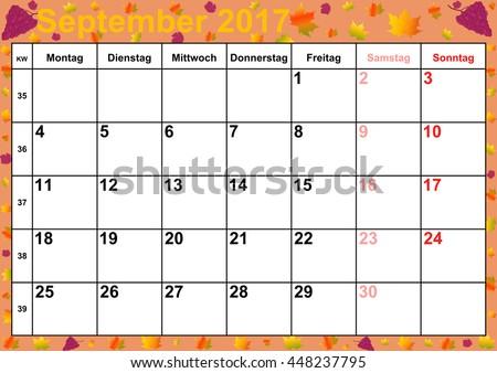 Calendar 2017 Months October Holidays Germany Stock Illustration ...
