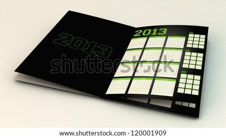 Calendar new year 2013 in 3d - stock photo