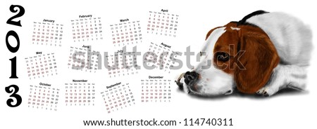 Calendar 2013 (new year) with dog beagle - stock photo
