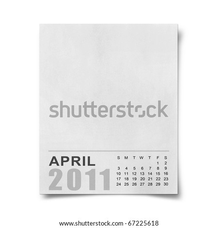 Calendar 2011 Note paper on white background .april - stock photo